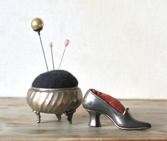 Reserved For Joan  Two Metal Silver Tone Pin Cushions Footed Urn And Shoe
