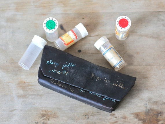 Vintage Satin Pill Pouch Carrying Case With Bottles