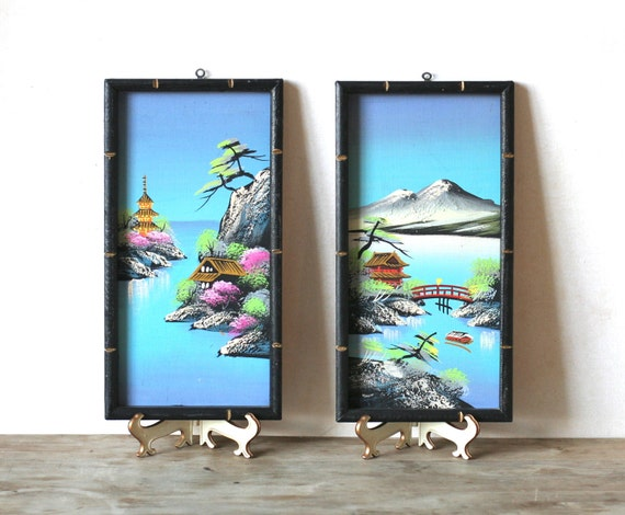 Vintage Japanese Wall Plaques Wood Bamboo
