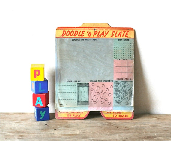 Circa 1950s Doodle N Play Slate Game Board Bright Colors