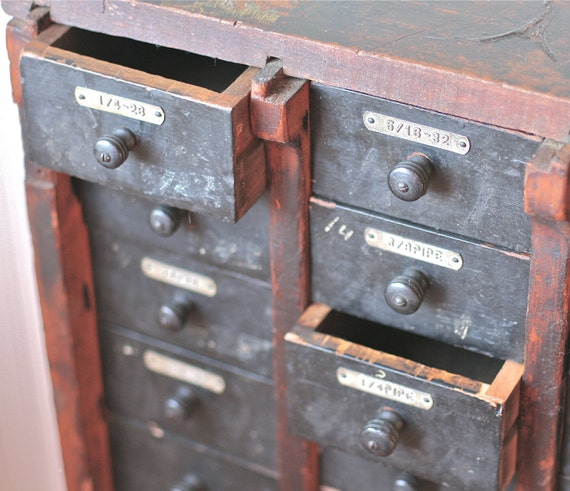 Reserved For AC Antique Hardware Store Cabinet Multi Drawer Wood Rustic Industrial