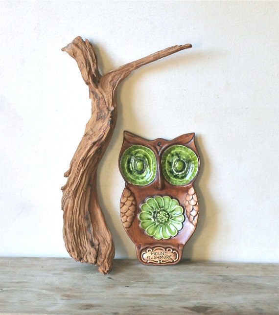 Reserved For Lisa  Vintage Ceramic Big Eyed Owl Spoon Rest Brown Green Treasure Craft