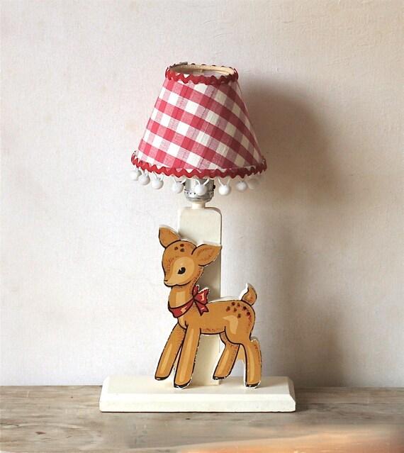 Rserved For Echo Vintage Baby Deer  Wooden Nursery Lamp Unique