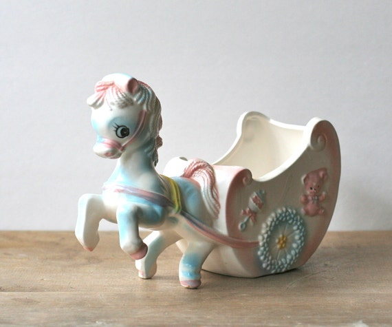 Vintage Inarco Planter Horse Carriage Baby Nursery By