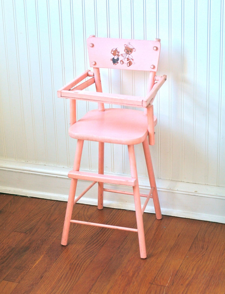Circa 1950s Pink Wooden Doll High Chair Cass Teddy By
