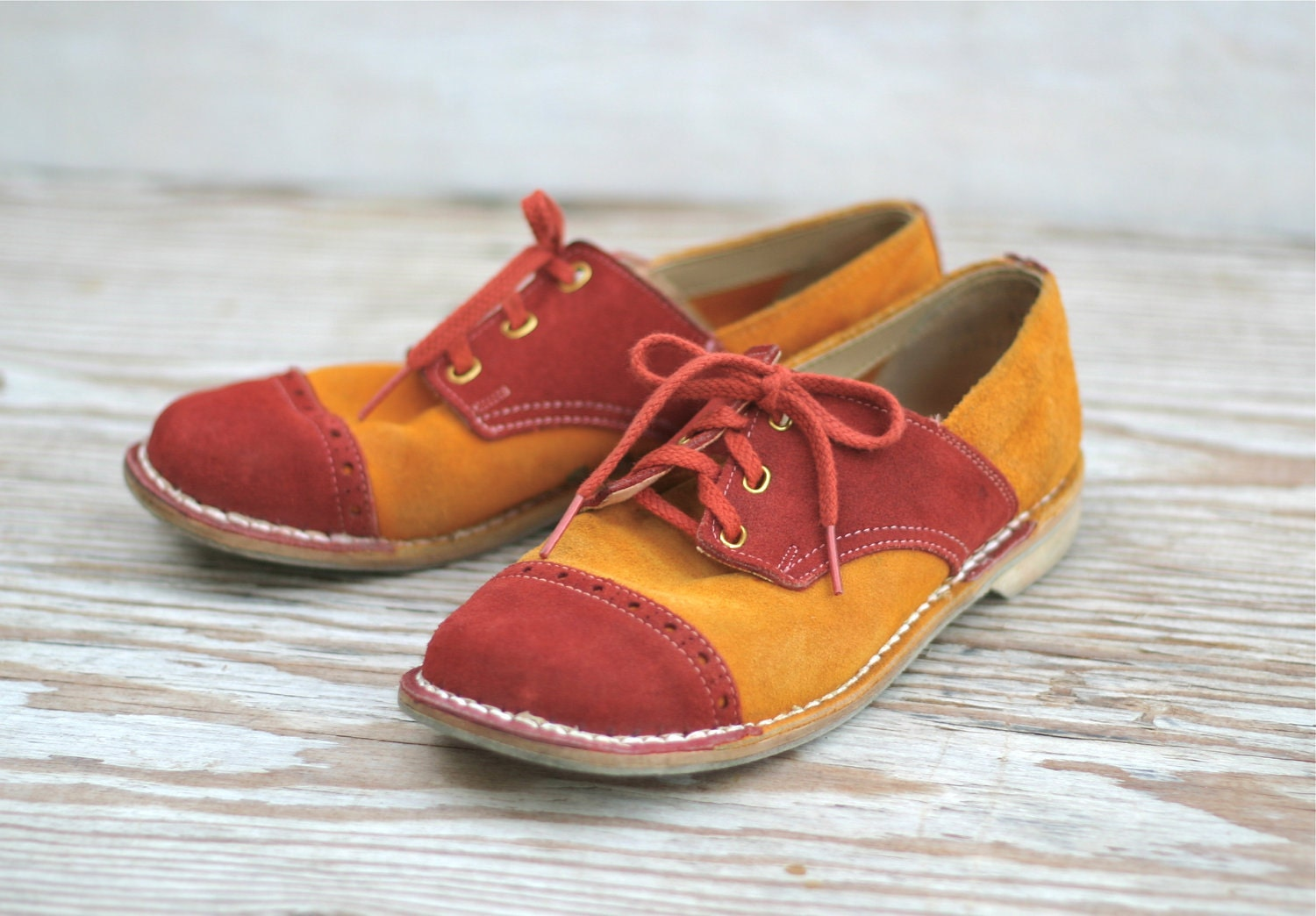 Vintage Suede Saddle Shoes Bowling Tangerine And Brick Red
