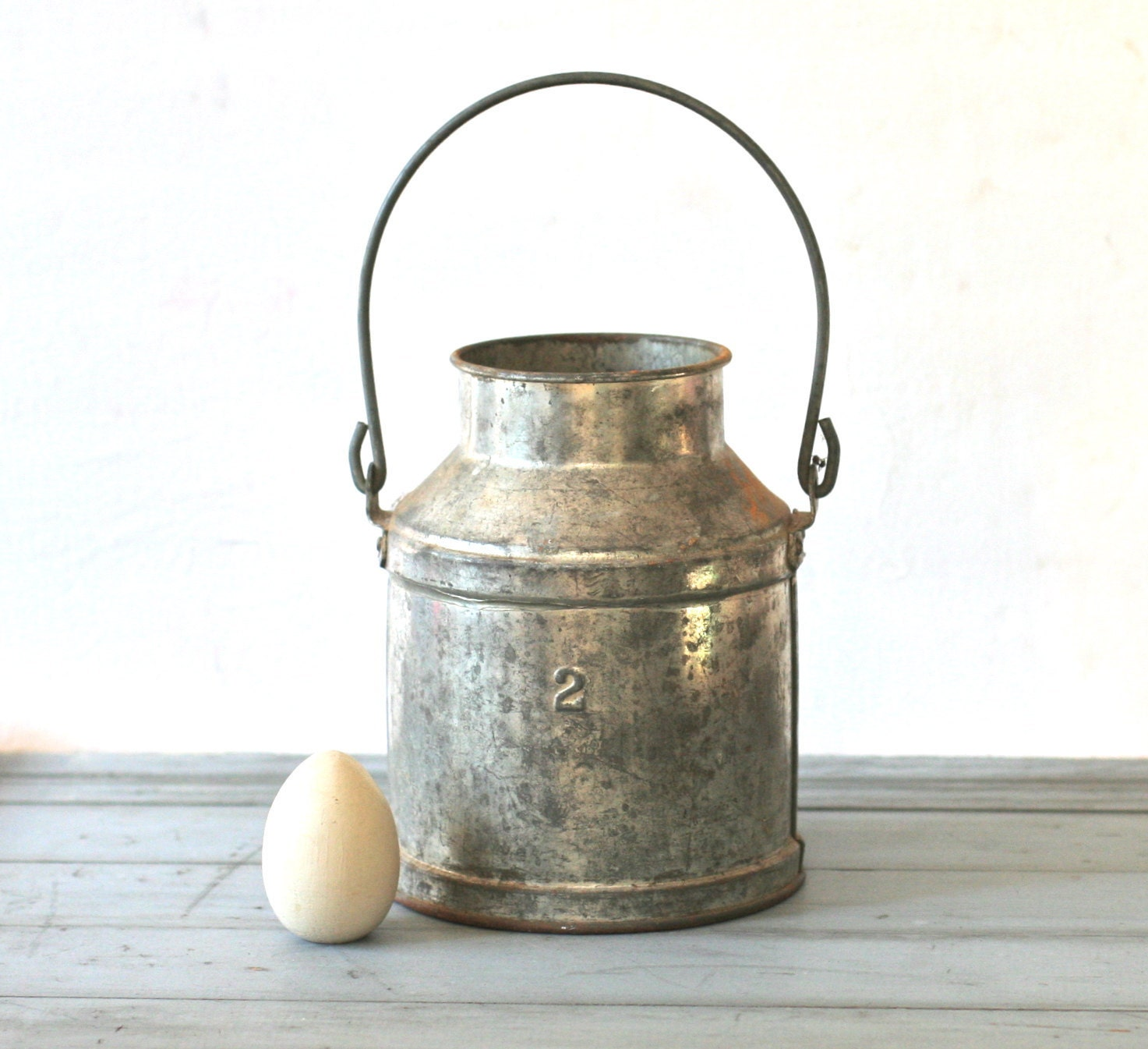 Vintage rustic galvanized handled metal milk pail number two for Old metal buckets