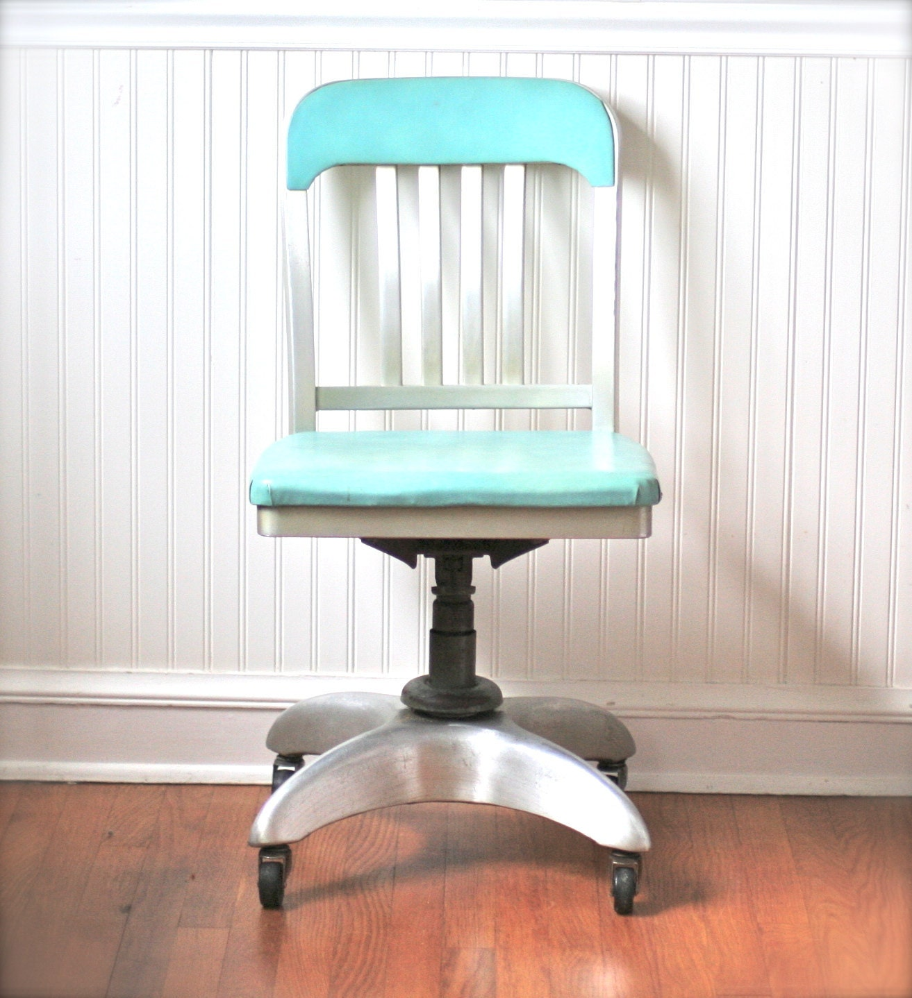 Mid Century General Fireproofing Office Chair Aqua Atomic