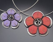 Small hibiscus sterling-silver, and Prismacolor color pendant and brooch