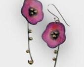 Pink poppy flower sterling silver and brass long drop earrings