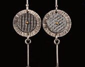 Hand crafted, hammered sterling silver, brass and oxidized copper dangle everyday earrings