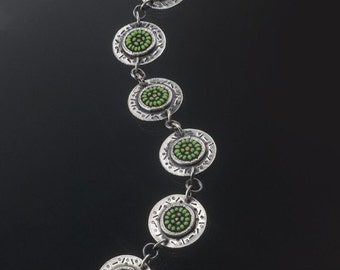 Sterling silver and lime-green seed bead mosaic bracelet