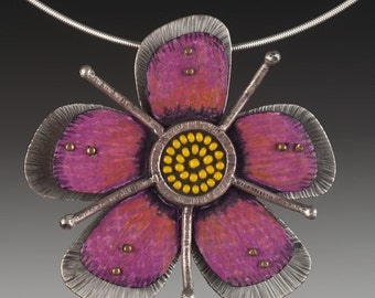 Handmade pink passion flower sterling silver and sead-bead pendant and brooch