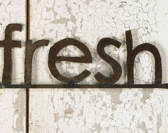 Fresh Wall Sign Metal Typography Kitchen Farmers Market Sign