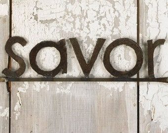 Decorative Signage Wall SAVOR sign Kitchen Sign