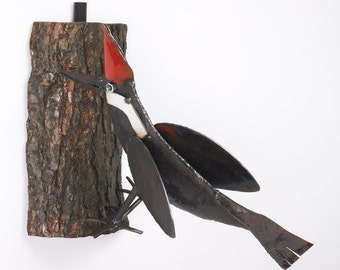 Woodpecker Sculpture Reclaimed Metal and Wood