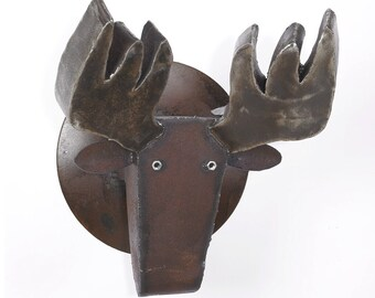 Metal Sculpture Wall Mount Faux Moose
