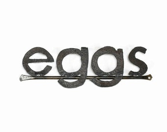 Metal Typography Eggs Word Sign