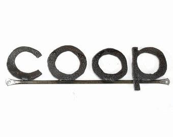 Metal Typography Coop Word Sign Free Shipping