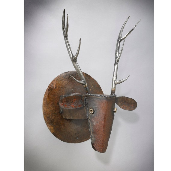 Metal Sculpture Wall Mount Elk Head