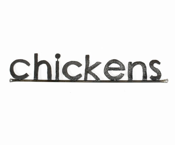 Metal Typography Chickens Word Sign Free Shipping