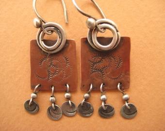 Copper, Sterling Silver Earrings
