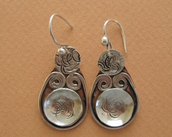 Forged, Sterling Silver, Copper Earrings, Handmade