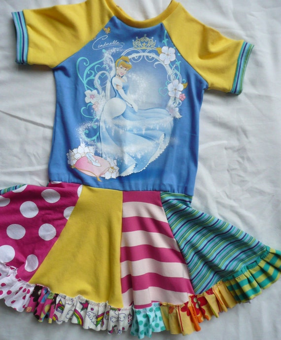 Alli Cat Creations Boutique Disney Princess Cinderella Upcycled Knit Dress Size 5/6/7