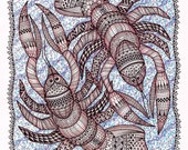 Kilchis Krawdads, an ACEO Open Edition Authorized Art Print zentangle inspired art illustration of two crawdads by Karen Anne Brady