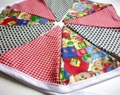 """Red, Blue, Yellow, Green, Fabric Party Banner, Cotton Fabric Bunting, Pennant Flags, Garland, 5 ft Long """"Teddy Bear Gathering"""""""