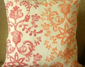 """Red, Orange, Tan Damask Pillow Cover, Choice of 16 Inch Envelope Style Pillow Covers, Cotton """"Warm Autumn Damask"""""""