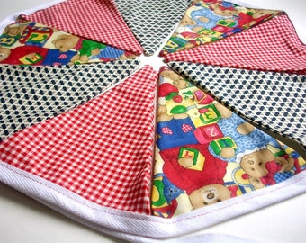 "Red, Blue, Yellow, Green, Fabric Party Banner, Cotton Fabric Bunting, Pennant Flags, Garland, 5 ft Long ""Teddy Bear Gathering"""