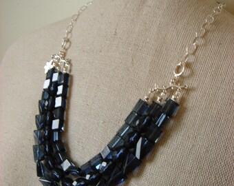 triple blue sparkle necklace