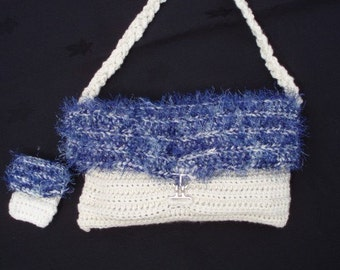White Cream and Blue Berry Purse and Telly Tote
