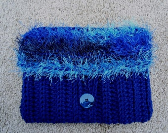 Navy Blue Clutch - Case for Kindle, Nook, iPad Mini ereaders or Purse - Crochet - SHOW