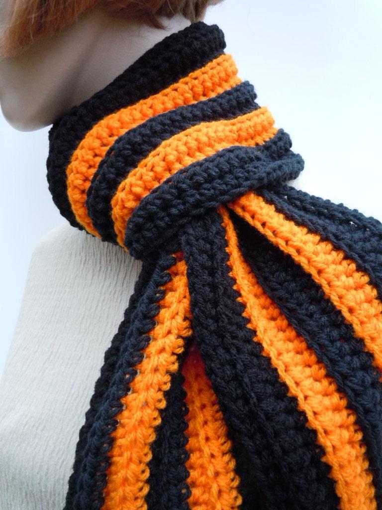 black and orange scarf children crochet
