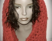 Fiery Red Boucle Cowl - SALE PRICE