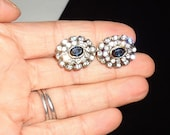 SALE Sale Vintage Lever Back Pierced Earrings Blue Sapphire Rhinestones and Clear Beautiful
