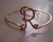 Initial Wire Cuff Bracelet Letter R