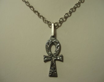 Antiqued Silver Pewter Ankh  Necklace