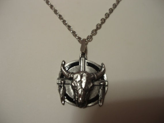 Steer Skull Pewter Necklace