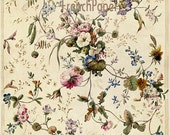 Digital Download - FRENCH FLORALS for gift wrapping,  ACEOs, scrapbooking, and origami No. 178