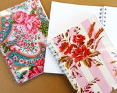 NOTEBOOK or JOURNAL Copy of French Vintage Fabric - Plus, 3 Handmade Origami Bookmarks