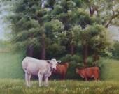 SHAKERTOWN COWS Original Pastoral Pastel Painting