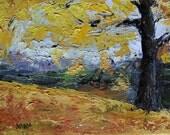 Original Palette Knife Textured Oil Painting Study - Autumn Gold