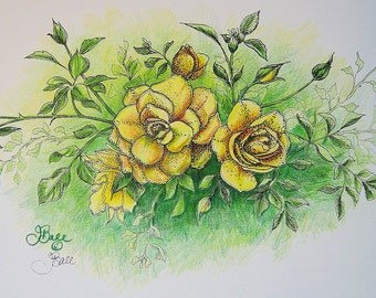 ROSES IN GOLD - Hand Colored Botanical Print 11 x 14