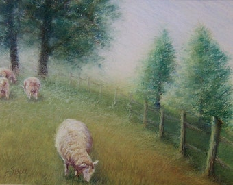 PLEASANT PASTURES Original Pastoral Sheep Pastel Painting