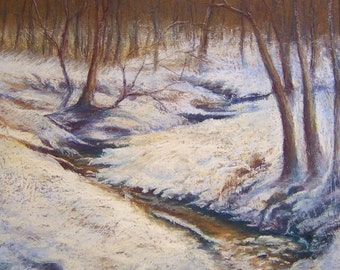 SNOWY STREAM - Original Winter Snow Landscape Pastel Painting 16 x 20