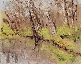 Framed Original Oil Painting Plein Air Palette Knife Sketch - Along The River 6 x 8
