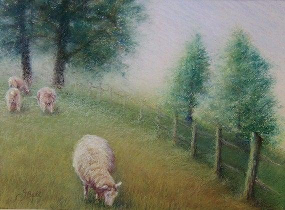 PLEASANT PASTURES Original Pastoral Sheep Pastel Painting
